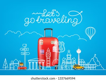 Travel concept. Vector illustration with famous sights and accessories