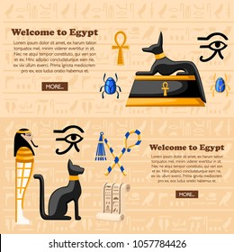 Travel concept. Welcome to Egypt poster. Ancient Egyptian symbols and decoration Egypt flat icons vector illustration on hieroglyphs texture background. Web site page and mobile app design.