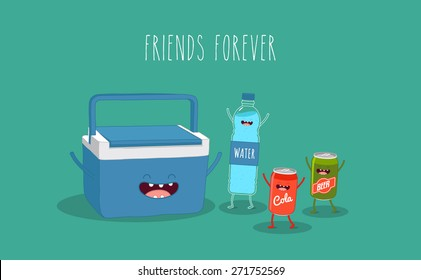 Travel cooler box and water, cola, beer. Vector cartoon. Friends forever. Comic characters.