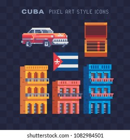 Travel to Cuba, pixel art icons set Part4, Cuban cigars and national flag, Retro red car 60, wall with graffiti, traditional colorful houses. Isolated vector illustration. 8-bit. Design sticker, logo.