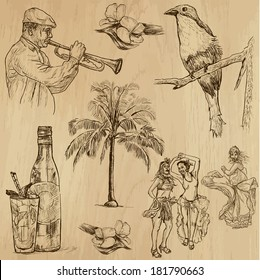 Travel : CUBA set no.3. Collection of hand drawn illustrations. Each drawing comprises two layers of outlines, the colored background is isolated.