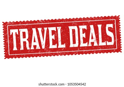 Travel deals grunge rubber stamp on white background, vector illustration