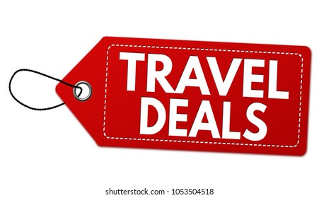 Travel deals label or price tag on white background, vector illustration