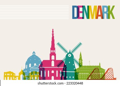 Travel Denmark famous landmarks skyline multicolored design background. Transparency vector organized in layers for easy create your own website, brochure or marketing campaign.