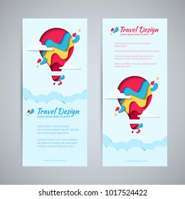 Travel design flyer template set paper art concept of hot air balloon in sky with clouds. Vector travel origami paper cut vertical banners set