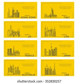 travel destination quote style card set. banner illustration of different countries. flat line modern vector collection. Hong Kong, Italy, UK, USA, FRANCE, JAPAN, AUSTRALIA, UAE