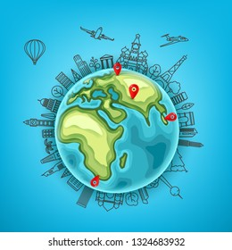 Travel destination vector concept