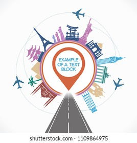 Travel destinations concept. Template Background Flat Vector Illustration. Road with a destinations icon surrounded by symbols of world  landmark