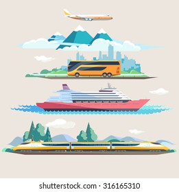 Travel to different transport. Flat design.