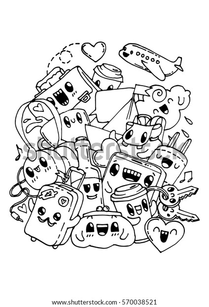 Travel Doodles Coloring Pages Kids Adult Stock Vector Royalty