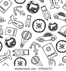 Travel doodles seamless background