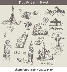 travel doodles set