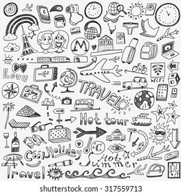 travel doodles sketch icons