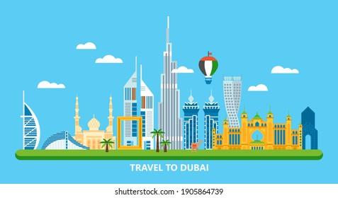 Travel to Dubai concept with skyline and famous buildings landmark