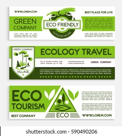 Travel and ecotourism banner template set. Ecology responsive travel agency flyer, poster, business card with green nature landscape and eco badges. Eco friendly lifestyle themes design.