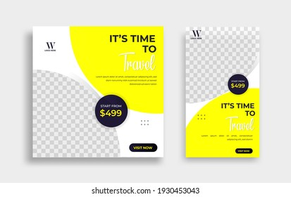 Travel Editable minimal square banner template. black yellow white background color with geometric shapes for social media post, story and web internet ads. Vector illustration