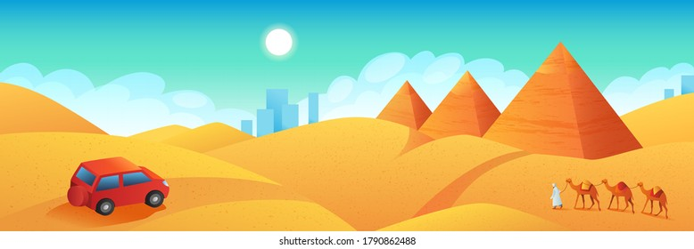 Travel to Egypt banner. Car trip to pyramids of Giza cartoon poster. Tour to ancient pharaoh temples, flat vector illustration.