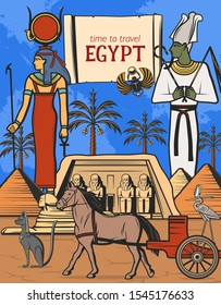 Travel to Egypt vector design of Ancient Egyptian pharaoh pyramids, gods and temple. Sphynx, Osiris goddess with ankh symbol and staff, cat statue, horse and cart, heron and parchment scroll