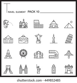 Travel Element Line Icon Set 10.Landmark thin icons.Mono pack.Graphic vector logo set.Pictogram design.