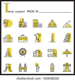 Travel Element Line Icon Set 10.Landmark thin icons.Colour pack.Graphic vector logo set.