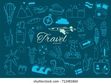 Travel elements. Hand drawn doodle. Separate elements on blue background.