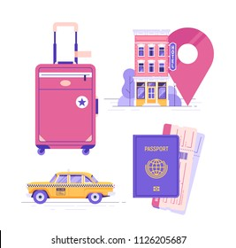 Travel elements set. Passport and tickets. Yellow public taxi cab. Hotel or hostel. Suitcase. Vector illustration.