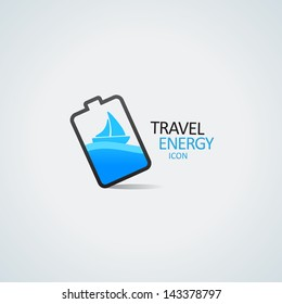 Travel energy icon. Yacht in the battery vector illustration