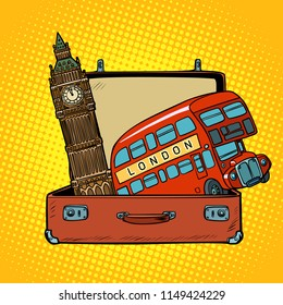 Travel to England concept. Suitcase with London sights. Comic cartoon pop art retro vector illustration drawing