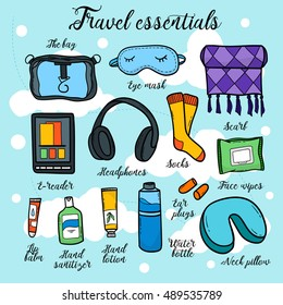 Travel essentials - all for fly, bag, socks, eye mask, scarf, headphones, ear plugs, lip balm, hand lotion, hand sanitizer, water bottle, e-reader. Vector hand-drawn objects sketch.