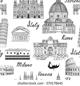 Travel Europe background. Italy famous landmark seamless pattern. Italian city architecture travel sketch.