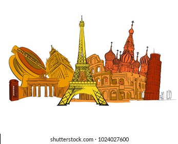 Travel to Europe. Road trip. Tourism sketch concept with landmarks. Travelling vector illustration. Hand-drawn modern design.