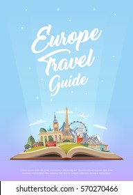 Travel to Europe. Road trip. Tourism. Open book with landmarks. Europe Travel Guide. Advertising web illustration. Summer vacation. Travelling banner. Modern flat design. EPS 10. #3