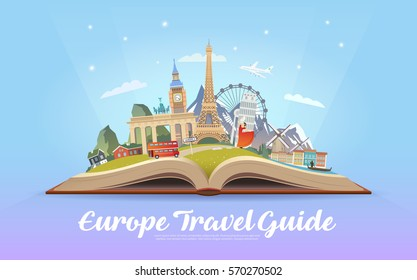 Travel to Europe. Road trip. Tourism. Open book with landmarks. Europe Travel Guide. Advertising web illustration. Summer vacation. Travelling banner. Modern flat design. EPS 10. #4