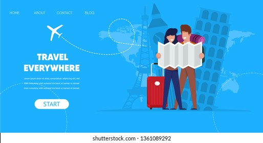 Travel Everywhere Concept. Cartoon Man Woman with Map Suitcase Bag Vector Illustration. Famous Europe Monuments Eiffel Tower Paris London Pizza Background. Buy Flight Ticket Online App