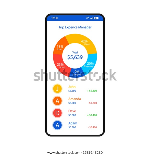 Travel Expense Tracker Smartphone Interface Vector Stock Vector