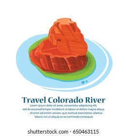 Travel Famous Horseshoe Bend of the Colorado River in northern Arizona.vector illustration.