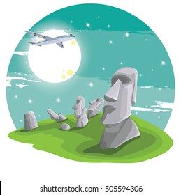 Travel and Famous Landmarks and beautiful  by plane. Moai stone statue head on Easter Island on  symbol republic of Chile ,Moai statue flat design landmark illustration vector cartoon.