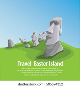 Travel and Famous Landmarks and beautiful. Moai stone statue head on Easter Island on  symbol republic of Chile ,Moai statue flat design landmark illustration vector cartoon.