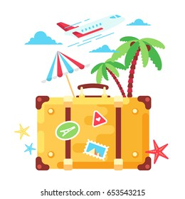 Travel fashion stylish suitcase sticker. Modern  travel bag with stamps on a front side. Flat design. Vector illustration.