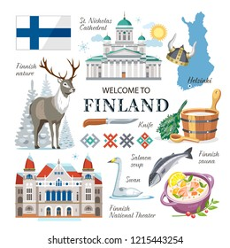 travel Finland national traditional vector symbols collection clipart with architecture sights, nature, animals, sauna accessorises, government symbols
