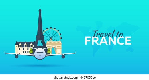 Travel to France. Airplane with Attractions. Travel vector banners. Flat style
