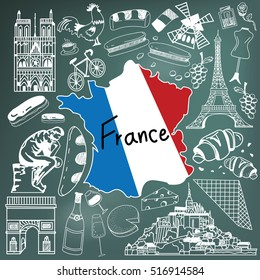 Travel to France doodle drawing icon. Doodle with culture, costume, landmark and cuisine of France tourism concept in blackboard background, create by vector