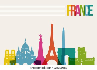Travel France famous landmarks skyline multicolored design background. Transparency vector organized in layers for easy create your own website, brochure or marketing campaign.