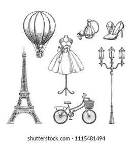 Travel to France hand drawn isolated design elements. Paris sketch vector illustration.