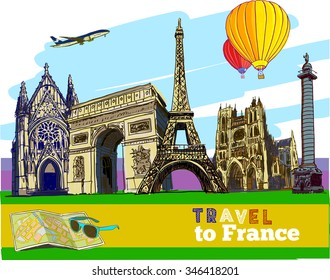 Travel to France.Good idea for banner, poster. Hand-drawn illustrations.