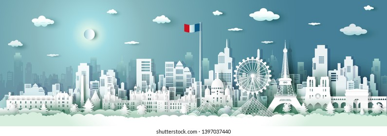 Travel French architecture with sunrise and sunset, Paris landmark in France cityscape with panoramic views and French flag, origami style paper for travel posters and postcards, Vector illustration.
