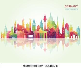 Travel Germany famous landmarks skyline. Vector illustration