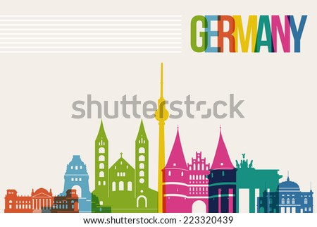 Travel Germany famous landmarks skyline multicolored design background. Transparency vector organized in layers for easy create your own website, brochure or marketing campaign.