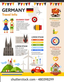 Travel to Germany - info poster, brochure cover template layout with flat design icons of German national symbols, other elements and filler text - Shutterstock ID 480398299