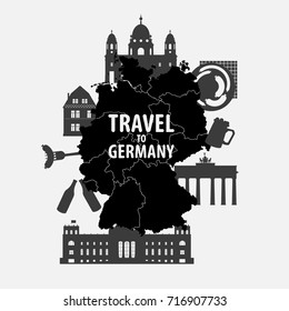 Travel to Germany vector illustration. German silhouette set with architecture, traditional symbols, objects and map isolated on white background